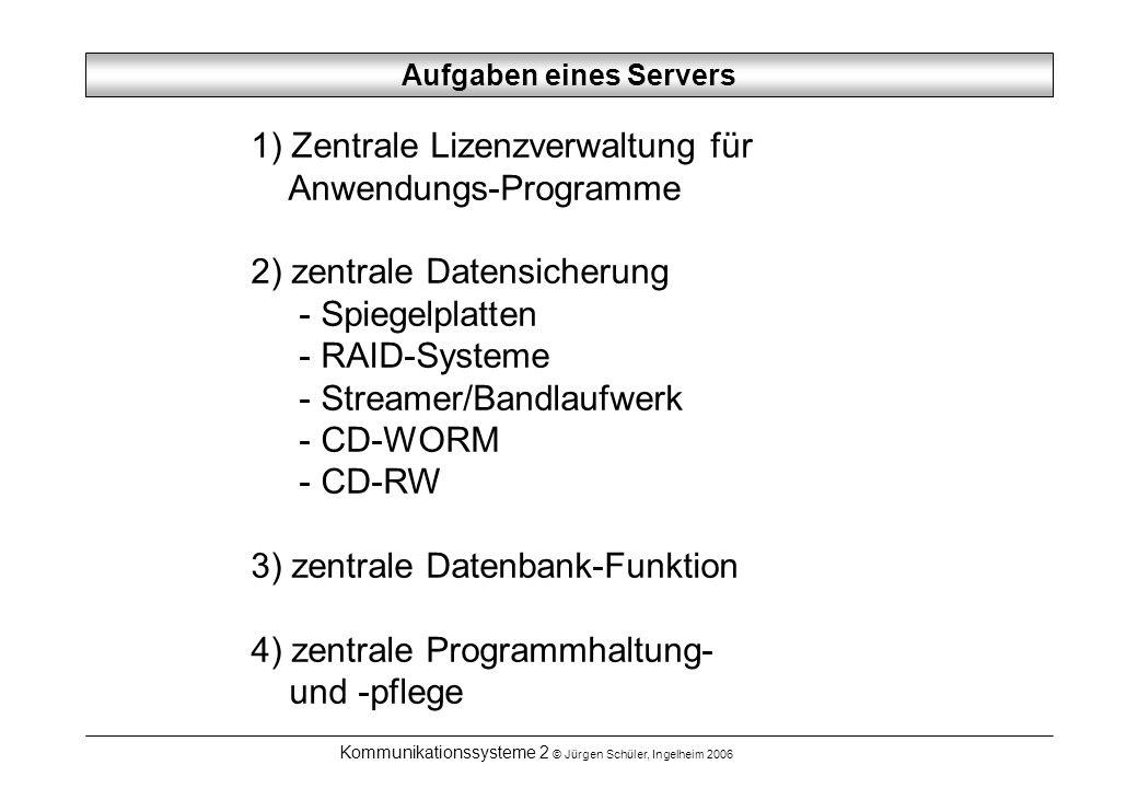 Kommunikationssysteme 2 © Jürgen Schüler, Ingelheim 2006 Aufgaben eines Servers 1) Zentrale Lizenzverwaltung für Anwendungs-Programme 2) zentrale Date