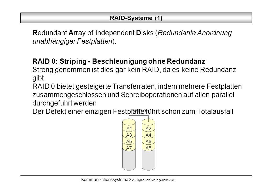 Kommunikationssysteme 2 © Jürgen Schüler, Ingelheim 2006 RAID-Systeme (1) Redundant Array of Independent Disks (Redundante Anordnung unabhängiger Fest
