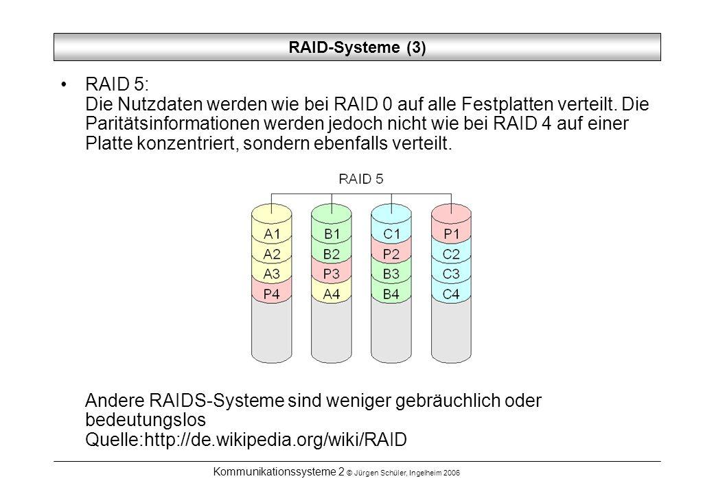 Kommunikationssysteme 2 © Jürgen Schüler, Ingelheim 2006 RAID-Systeme (3) RAID 5: Die Nutzdaten werden wie bei RAID 0 auf alle Festplatten verteilt. D
