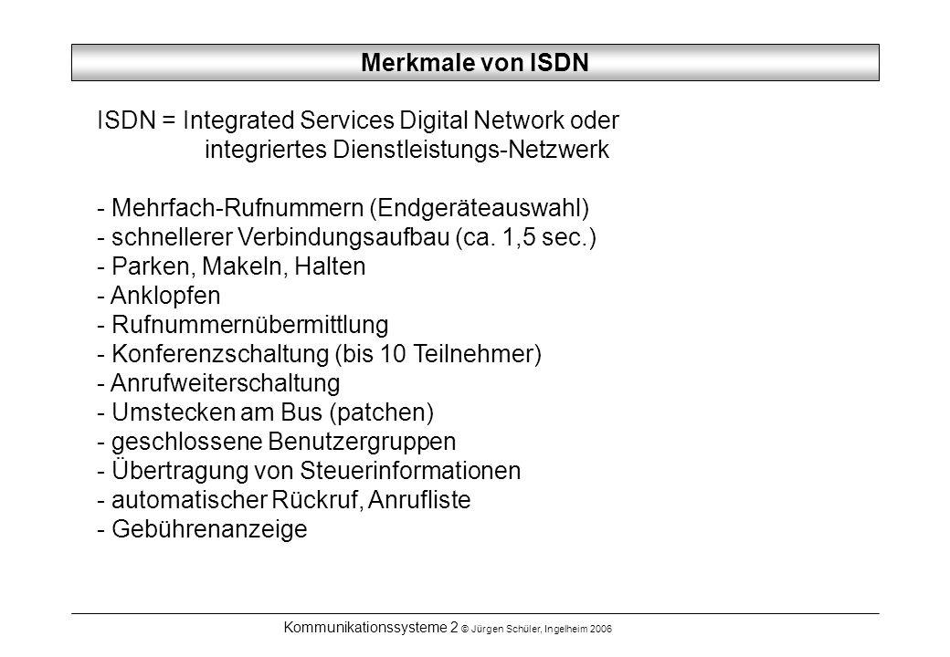 Kommunikationssysteme 2 © Jürgen Schüler, Ingelheim 2006 Merkmale von ISDN ISDN = Integrated Services Digital Network oder integriertes Dienstleistung