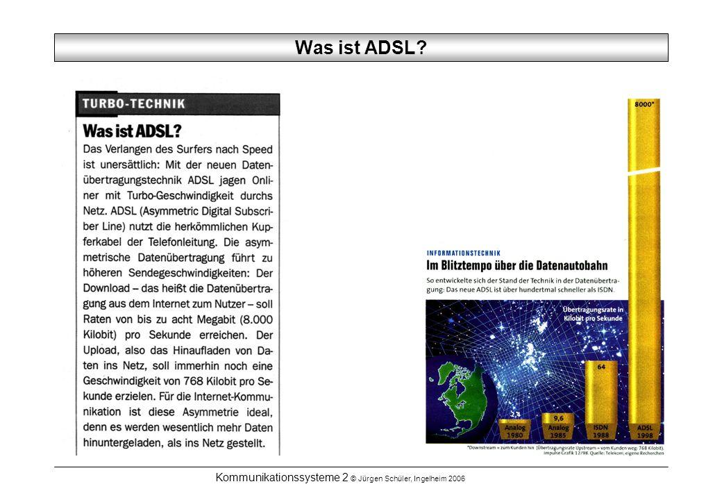 Kommunikationssysteme 2 © Jürgen Schüler, Ingelheim 2006 Was ist ADSL?