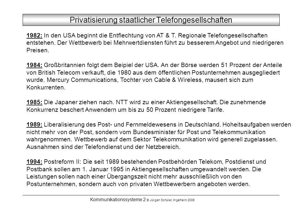 Kommunikationssysteme 2 © Jürgen Schüler, Ingelheim 2006 Privatisierung staatlicher Telefongesellschaften 1982: In den USA beginnt die Entflechtung vo