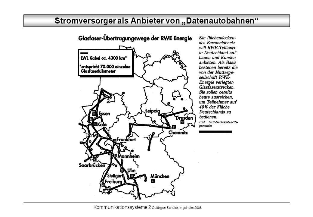 Kommunikationssysteme 2 © Jürgen Schüler, Ingelheim 2006 Stromversorger als Anbieter von Datenautobahnen