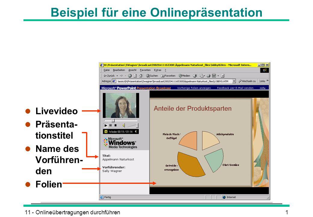 11 - Onlineübertragungen durchführen1 Beispiel für eine Onlinepräsentation l Livevideo l Präsenta- tionstitel l Name des Vorführen- den l Folien