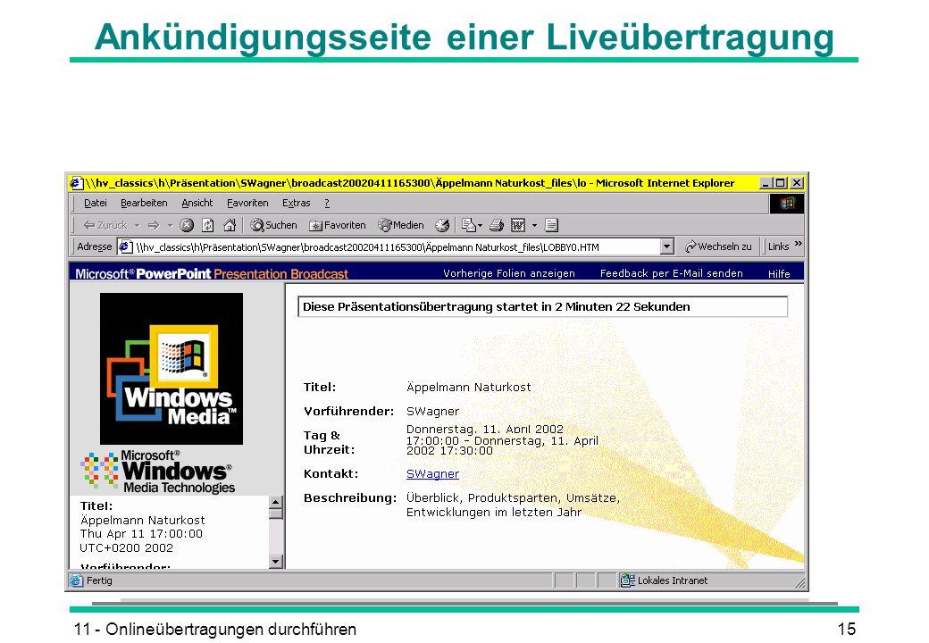 11 - Onlineübertragungen durchführen15 Ankündigungsseite einer Liveübertragung