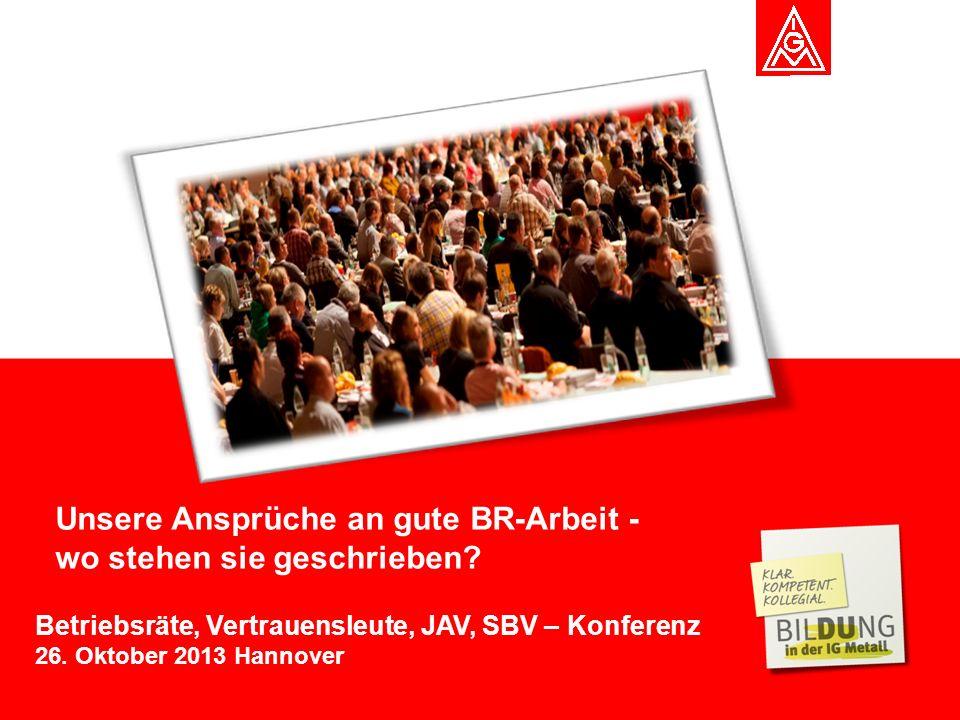 Ferdije Rrecaj Betriebsräte, Vertrauensleute, JAV, SBV – Konferenz 26. Oktober 2013 Hannover Unsere Ansprüche an gute BR-Arbeit - wo stehen sie geschr