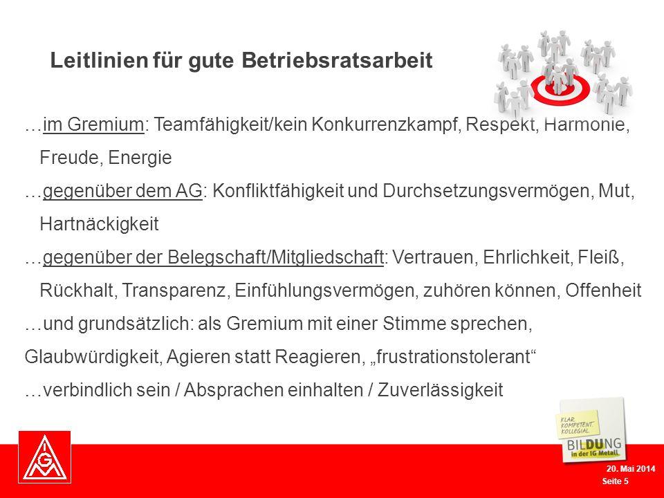 Seite 5 20. Mai 2014 …im Gremium: Teamfähigkeit/kein Konkurrenzkampf, Respekt, Harmonie, Freude, Energie …gegenüber dem AG: Konfliktfähigkeit und Durc