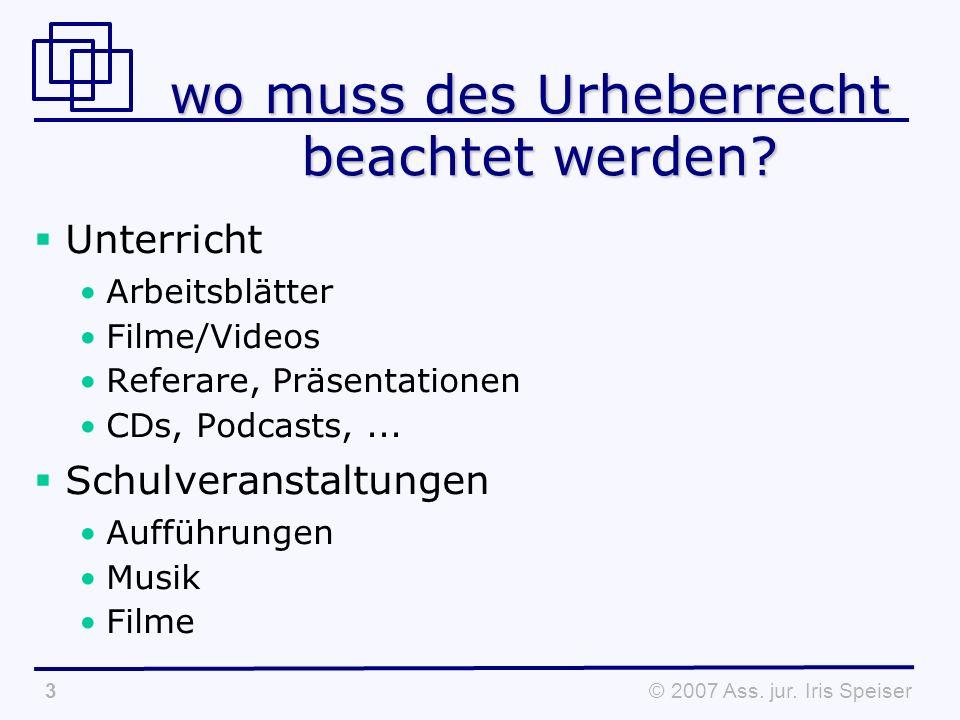 © 2007 Ass.jur. Iris Speiser4 wo muss des Urheberrecht beachtet werden.