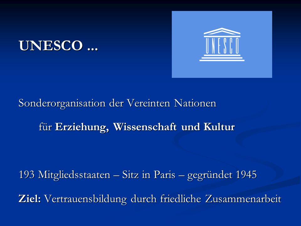 UNESCO... Sonderorganisation der Vereinten Nationen für Erziehung, Wissenschaft und Kultur 193 Mitgliedsstaaten – Sitz in Paris – gegründet 1945 Ziel: