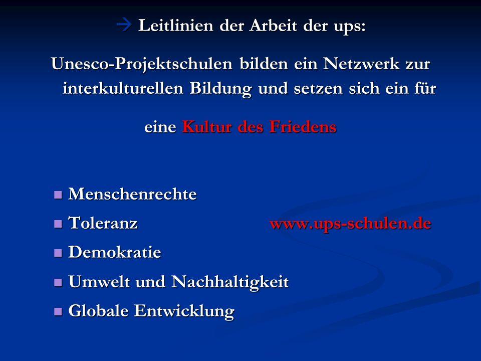 Leitlinien der Arbeit der ups: Leitlinien der Arbeit der ups: Unesco-Projektschulen bilden ein Netzwerk zur interkulturellen Bildung und setzen sich e