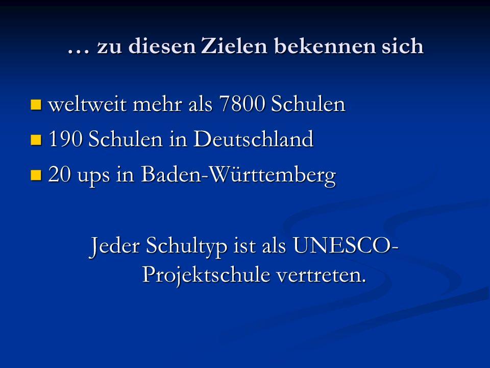 … zu diesen Zielen bekennen sich weltweit mehr als 7800 Schulen weltweit mehr als 7800 Schulen 190 Schulen in Deutschland 190 Schulen in Deutschland 2