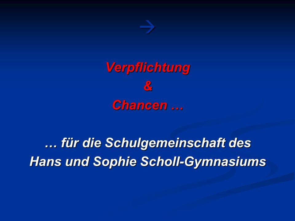 Verpflichtung& Chancen … … für die Schulgemeinschaft des Hans und Sophie Scholl-Gymnasiums