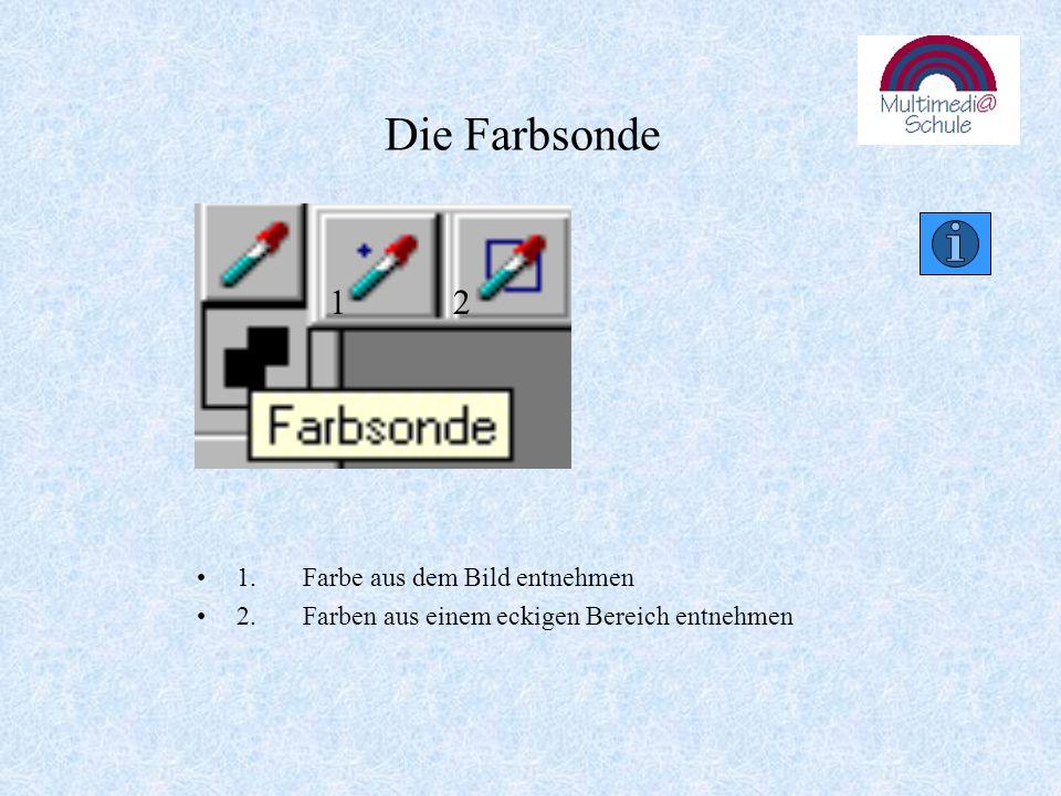 Die Farbsonde 1.Farbe aus dem Bild entnehmen 2.Farben aus einem eckigen Bereich entnehmen 12