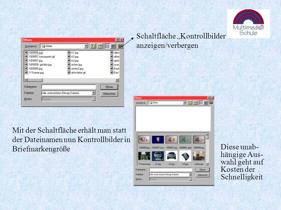 Schaltfläche Kontrollbilder anzeigen/verbergen Mit der Schaltfläche erhält man statt der Dateinamen nun Kontrollbilder in Briefmarkengröße Diese unab- hängige Aus- wahl geht auf Kosten der Schnelligkeit