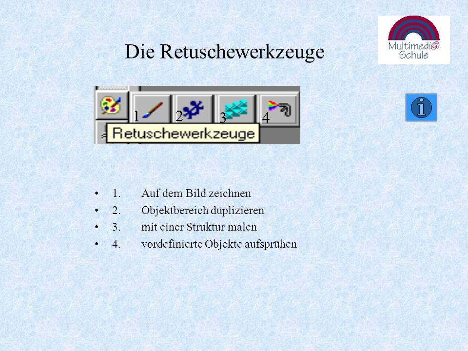 Die Füllwerkzeuge 1.Objekt mit einem Farbverlauf füllen 2.Objekt mit einer Struktur füllen 3.Objekt mit der aktiven Farbe füllen 4.