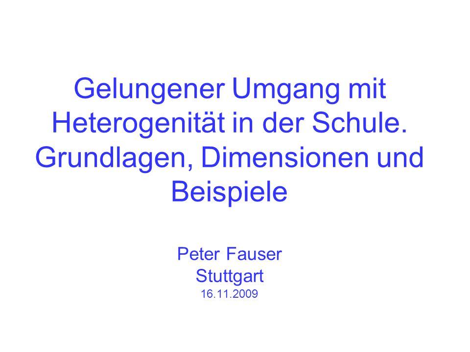 Gelungener Umgang mit Heterogenität in der Schule. Grundlagen, Dimensionen und Beispiele Peter Fauser Stuttgart 16.11.2009