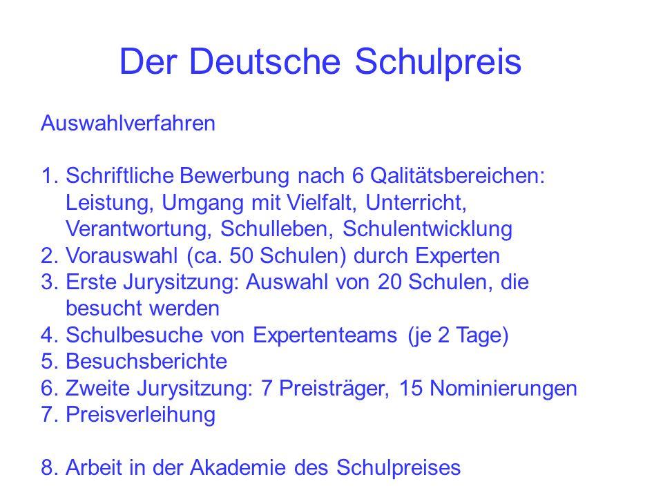 Der Deutsche Schulpreis Auswahlverfahren 1.Schriftliche Bewerbung nach 6 Qalitätsbereichen: Leistung, Umgang mit Vielfalt, Unterricht, Verantwortung,