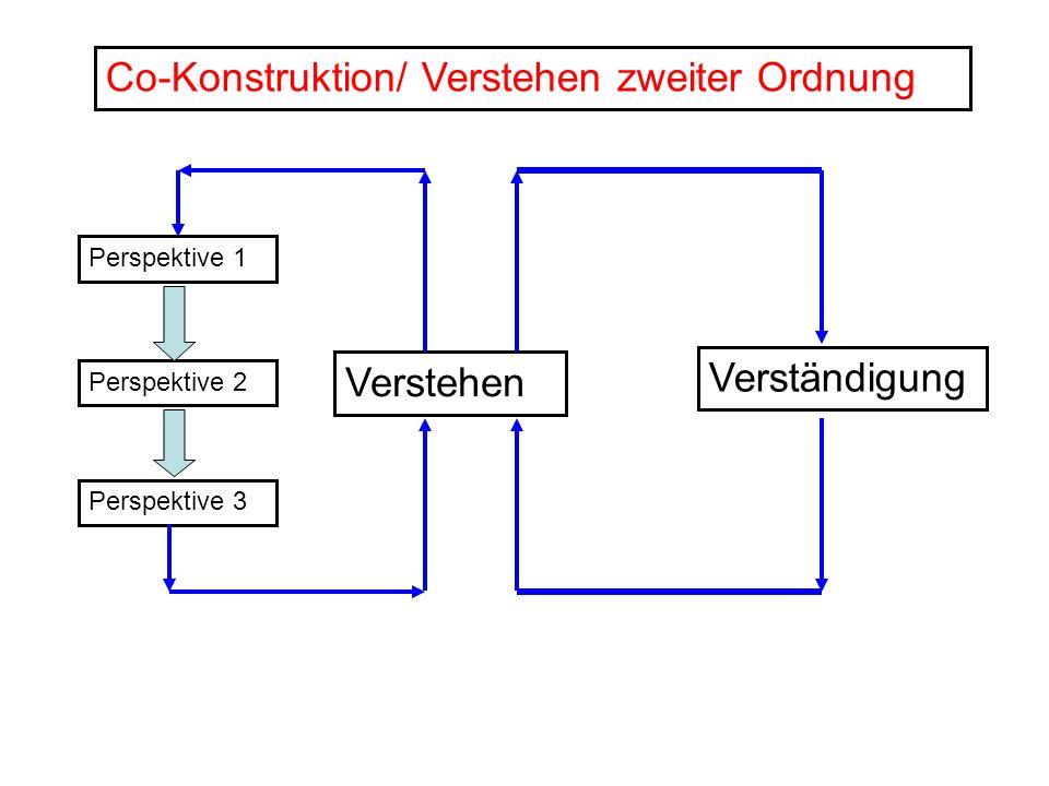 Perspektive 1 Perspektive 2 Perspektive 3 Verstehen Verständigung Co-Konstruktion/ Verstehen zweiter Ordnung