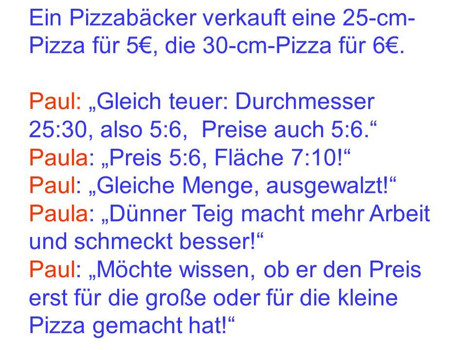 Ein Pizzabäcker verkauft eine 25-cm- Pizza für 5, die 30-cm-Pizza für 6. Paul: Gleich teuer: Durchmesser 25:30, also 5:6, Preise auch 5:6. Paula: Prei