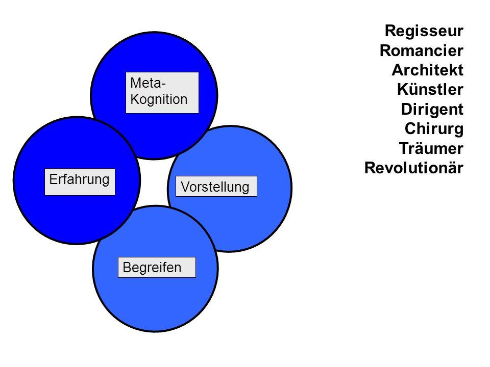 Erfahrung Meta- Kognition Vorstellung Regisseur Romancier Architekt Künstler Dirigent Chirurg Träumer Revolutionär Begreifen