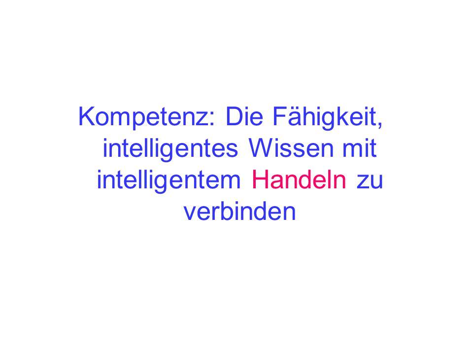 Kompetenz: Die Fähigkeit, intelligentes Wissen mit intelligentem Handeln zu verbinden