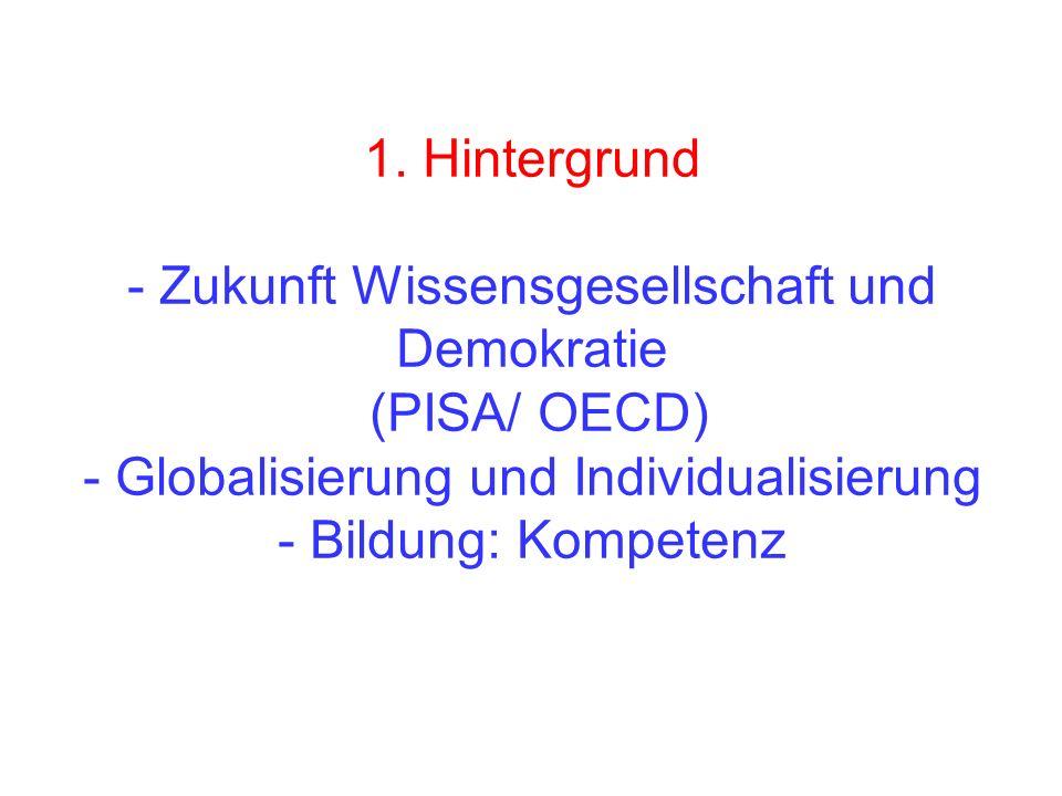 1. Hintergrund - Zukunft Wissensgesellschaft und Demokratie (PISA/ OECD) - Globalisierung und Individualisierung - Bildung: Kompetenz