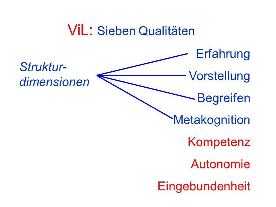 ViL: Sieben Qualitäten Erfahrung Vorstellung Begreifen Metakognition Kompetenz Autonomie Eingebundenheit Struktur- dimensionen