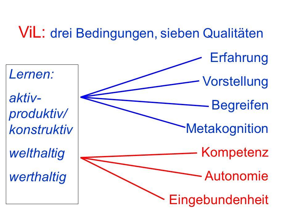 ViL: drei Bedingungen, sieben Qualitäten Erfahrung Vorstellung Begreifen Metakognition Kompetenz Autonomie Eingebundenheit Lernen: aktiv- produktiv/ k