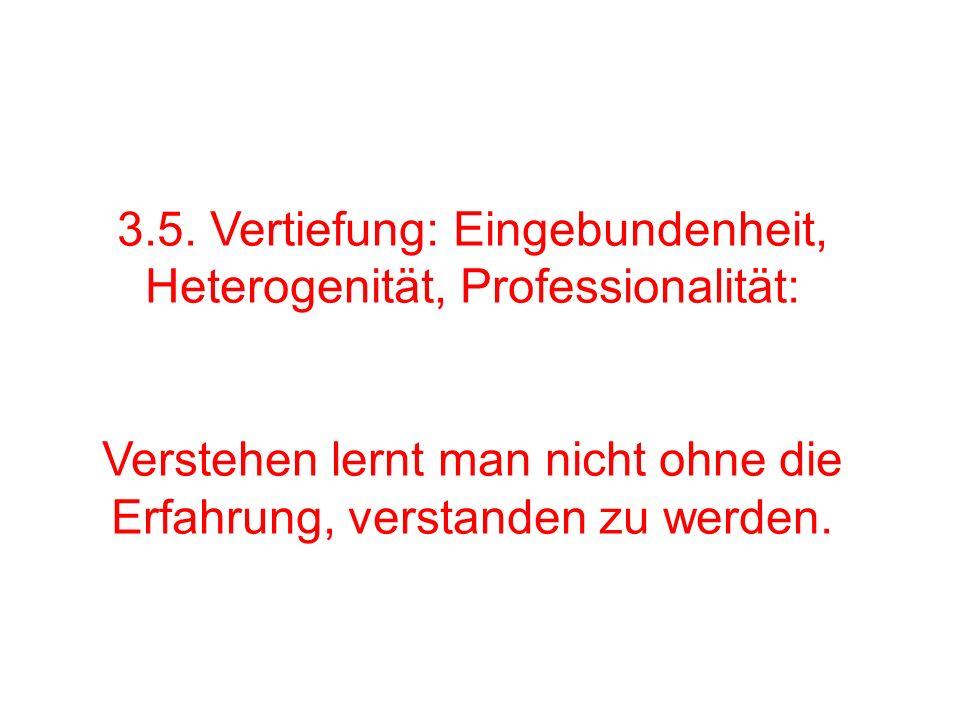 3.5. Vertiefung: Eingebundenheit, Heterogenität, Professionalität: Verstehen lernt man nicht ohne die Erfahrung, verstanden zu werden.