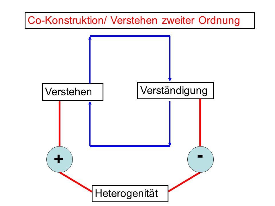 Verstehen Verständigung Co-Konstruktion/ Verstehen zweiter Ordnung + - Heterogenität
