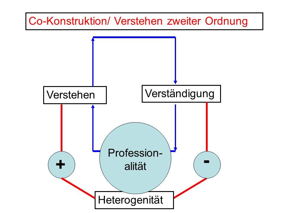 Verstehen Verständigung Co-Konstruktion/ Verstehen zweiter Ordnung + - Heterogenität Profession- alität