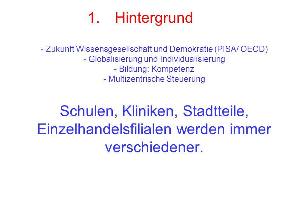 1.Hintergrund - Zukunft Wissensgesellschaft und Demokratie (PISA/ OECD) - Globalisierung und Individualisierung - Bildung: Kompetenz - Multizentrische