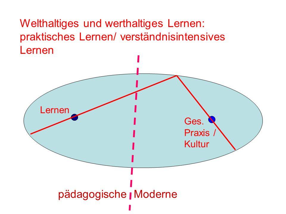 Lernen Ges. Praxis / Kultur Welthaltiges und werthaltiges Lernen: praktisches Lernen/ verständnisintensives Lernen pädagogische Moderne