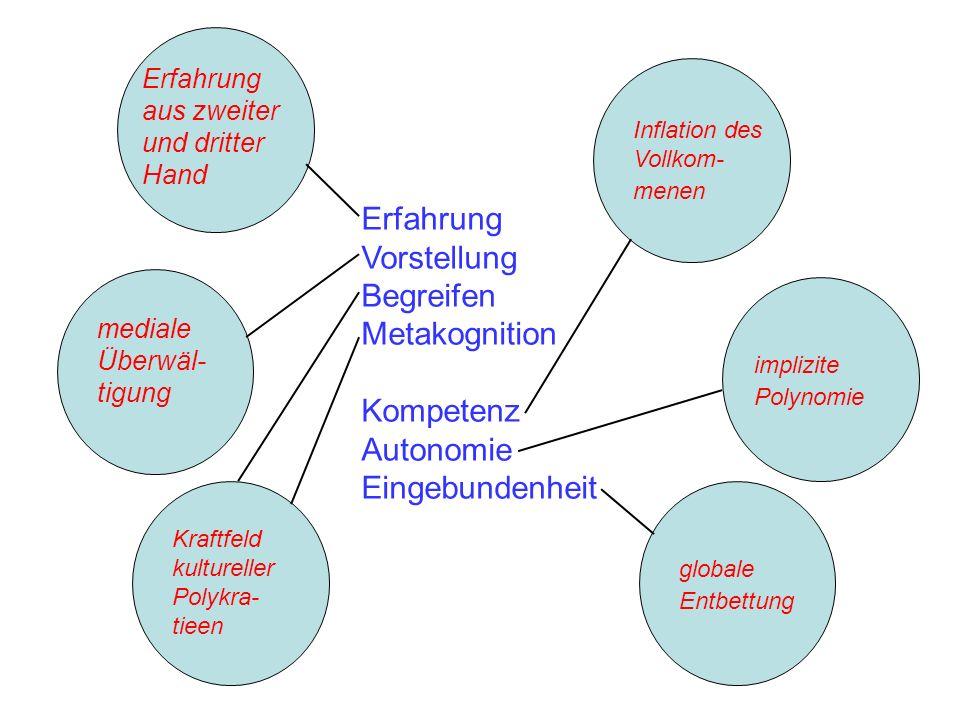 Erfahrung Vorstellung Begreifen Metakognition Kompetenz Autonomie Eingebundenheit Erfahrung aus zweiter und dritter Hand mediale Überwäl- tigung Kraft