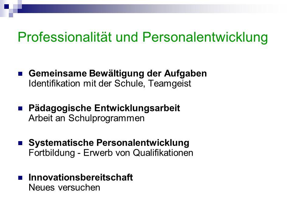 Professionalität und Personalentwicklung Gemeinsame Bewältigung der Aufgaben Identifikation mit der Schule, Teamgeist Pädagogische Entwicklungsarbeit