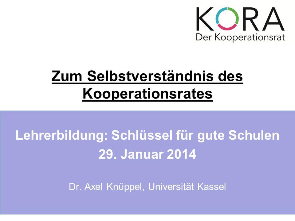Zum Selbstverständnis des Kooperationsrates Lehrerbildung: Schlüssel für gute Schulen 29.