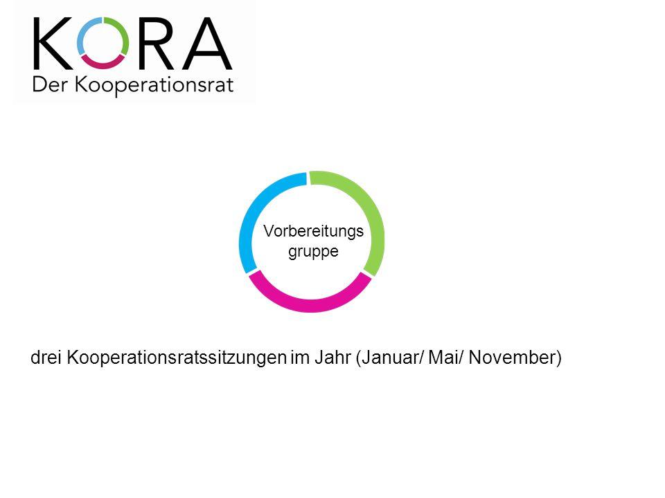 drei Kooperationsratssitzungen im Jahr (Januar/ Mai/ November) Vorbereitungs gruppe