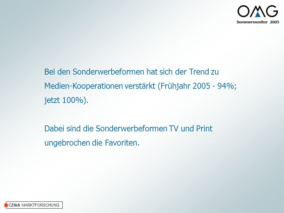CZAIA MARKTFORSCHUNG Bei den Sonderwerbeformen hat sich der Trend zu Medien-Kooperationen verstärkt (Frühjahr 2005 - 94%; jetzt 100%).