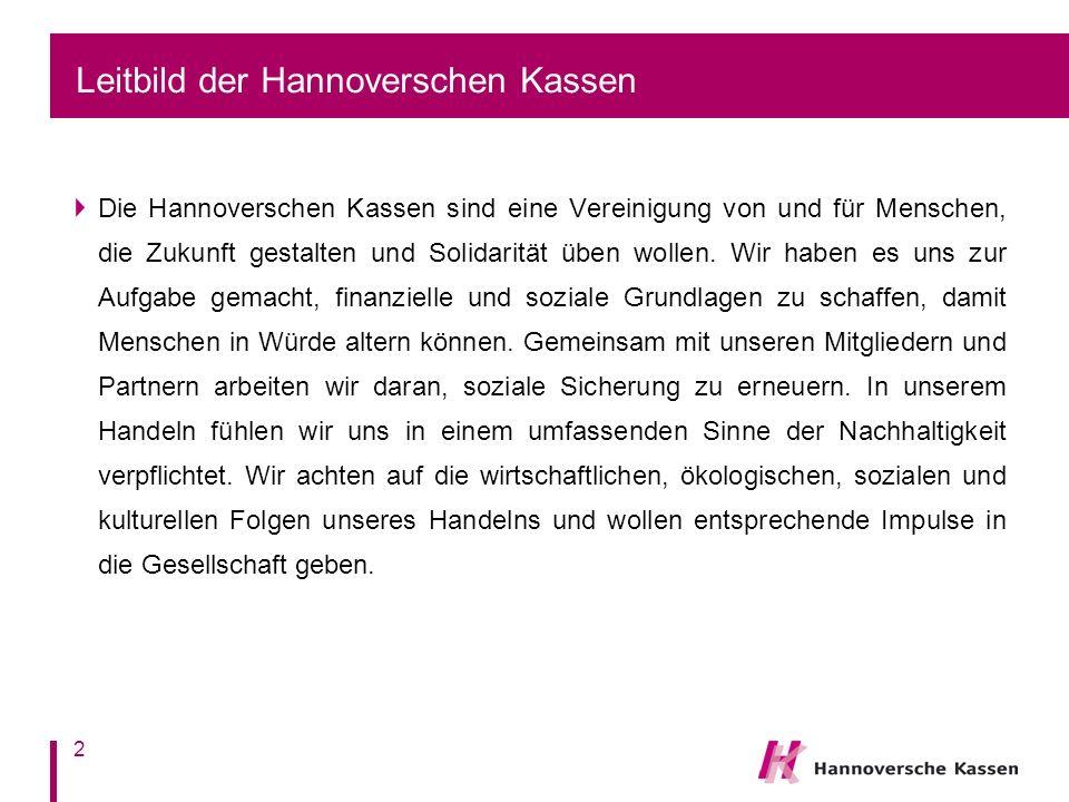 Leitbild der Hannoverschen Kassen Die Hannoverschen Kassen sind eine Vereinigung von und für Menschen, die Zukunft gestalten und Solidarität üben wollen.