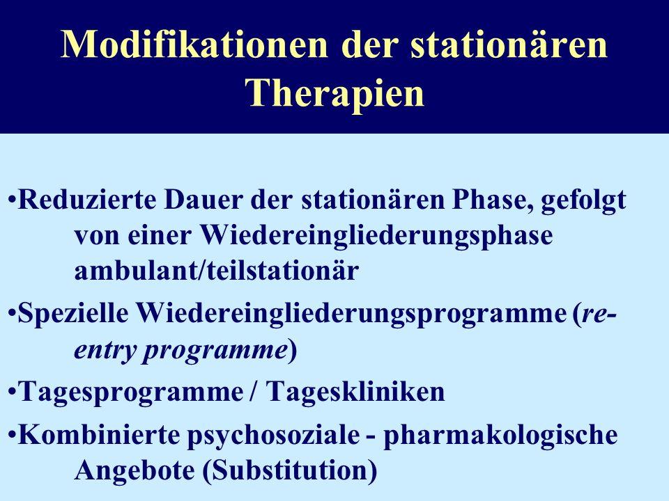 Modifikation der Settings (Integrated systems approach) Modifizierte Therapeutische Gemeinschaften für Suchtkranke im Strafvollzug Modifizierte Therap