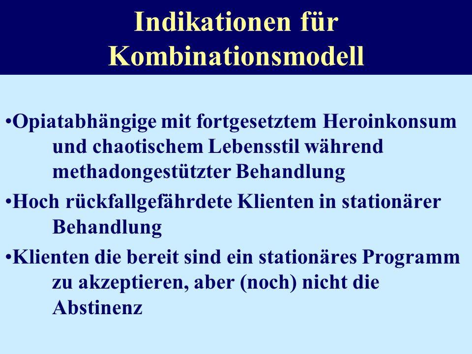 Theoretische Basis für Kombinationsmodelle Recovery stage paradigm (de Leon 1996) 10 Stufen des Heilungsprozesses –Verleugnung (denial) –Ambivalenz –M