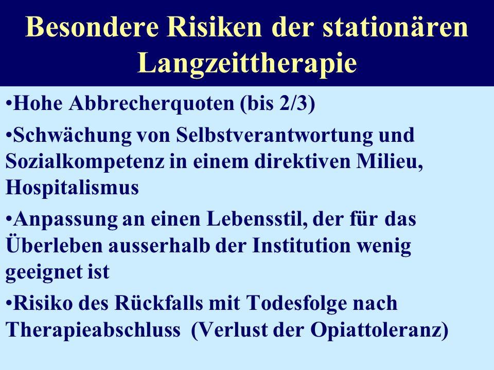Indikationen für eine stationäre ausstiegsorientierte Therapie Fehlende Minimalvoraussetzungen für eine ambulante Behandlung Moratorium (Unterbrechung