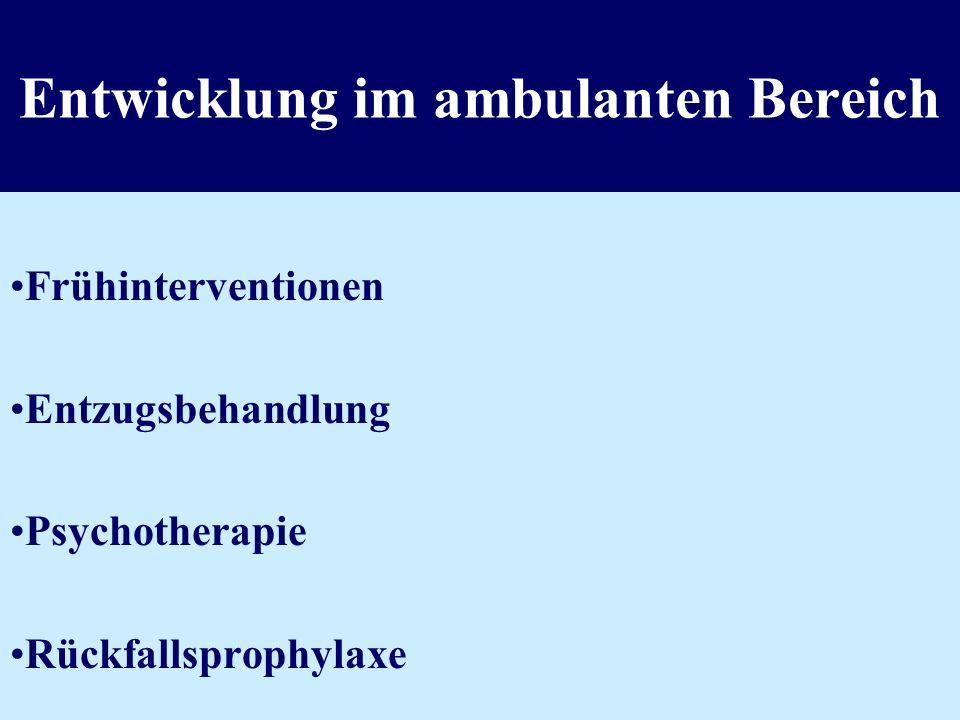 Entwicklung im ambulanten Bereich Frühinterventionen Entzugsbehandlung Psychotherapie Rückfallsprophylaxe