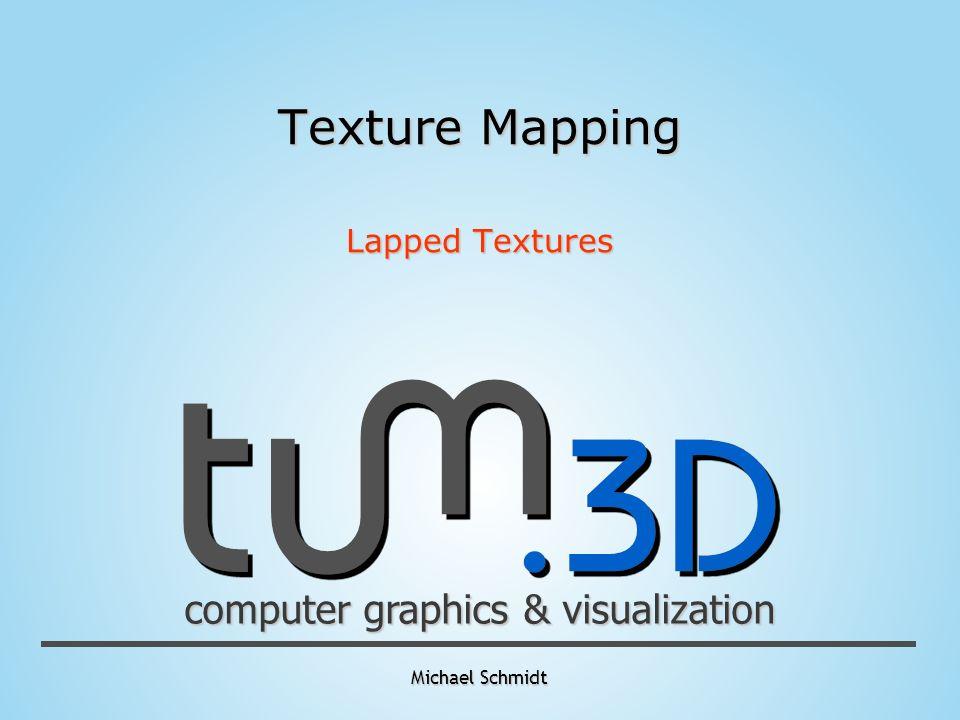 computer graphics & visualization Michael Schmidt Texture Mapping - 2D Textur übertragen auf 3D Mesh mit Hilfe von Texturkoordinaten für jedes Vertice - Vergleichbar mit dem einwickeln in Geschenkpapier