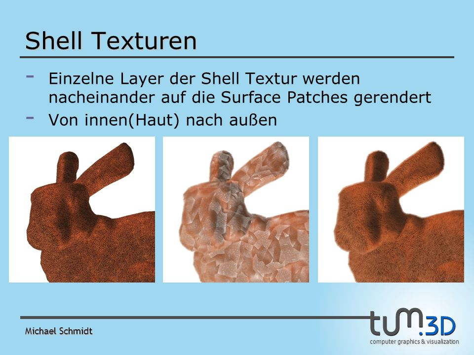 computer graphics & visualization Michael Schmidt Shell Texturen - - Einzelne Layer der Shell Textur werden nacheinander auf die Surface Patches gerendert - - Von innen(Haut) nach außen