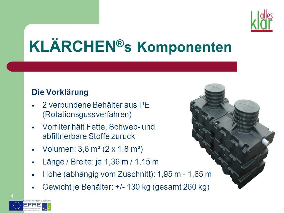 KLÄRCHEN ® s Komponenten Die Vorklärung 2 verbundene Behälter aus PE (Rotationsgussverfahren) Vorfilter hält Fette, Schweb- und abfiltrierbare Stoffe zurück Volumen: 3,6 m³ (2 x 1,8 m³) Länge / Breite: je 1,36 m / 1,15 m Höhe (abhängig vom Zuschnitt): 1,95 m - 1,65 m Gewicht je Behälter: +/- 130 kg (gesamt 260 kg) 4