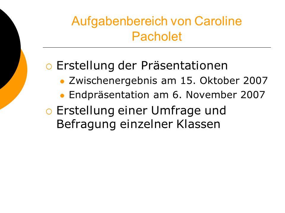 Aufgabenbereich von Caroline Pacholet Erstellung der Präsentationen Zwischenergebnis am 15. Oktober 2007 Endpräsentation am 6. November 2007 Erstellun