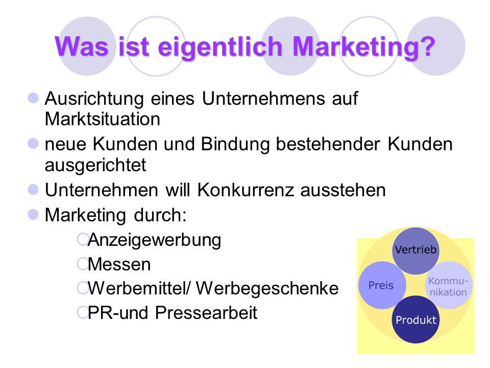 Was ist eigentlich Marketing? Ausrichtung eines Unternehmens auf Marktsituation neue Kunden und Bindung bestehender Kunden ausgerichtet Unternehmen wi