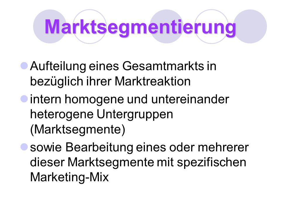 Marktsegmentierung Aufteilung eines Gesamtmarkts in bezüglich ihrer Marktreaktion intern homogene und untereinander heterogene Untergruppen (Marktsegm