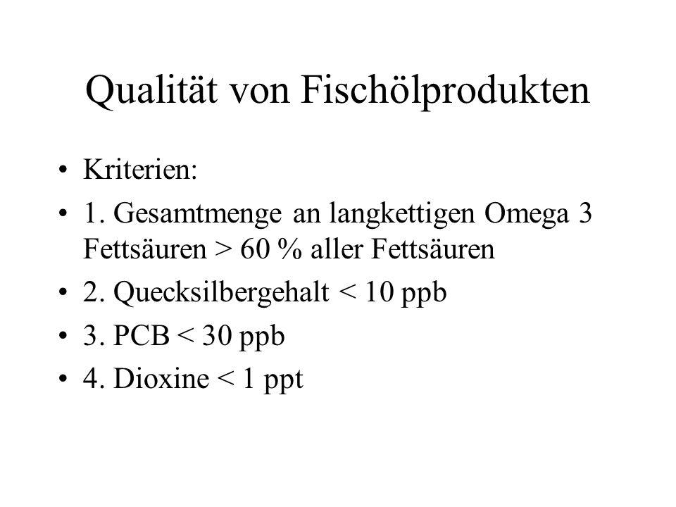 Qualität von Fischölprodukten Kriterien: 1.